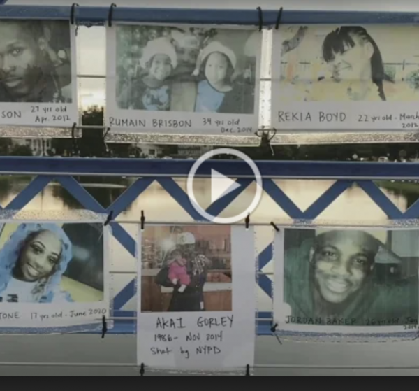 Polaroid images of young black people with names and dates written on them, links to video
