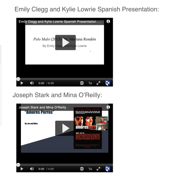 picture of video previews from Spanish classes