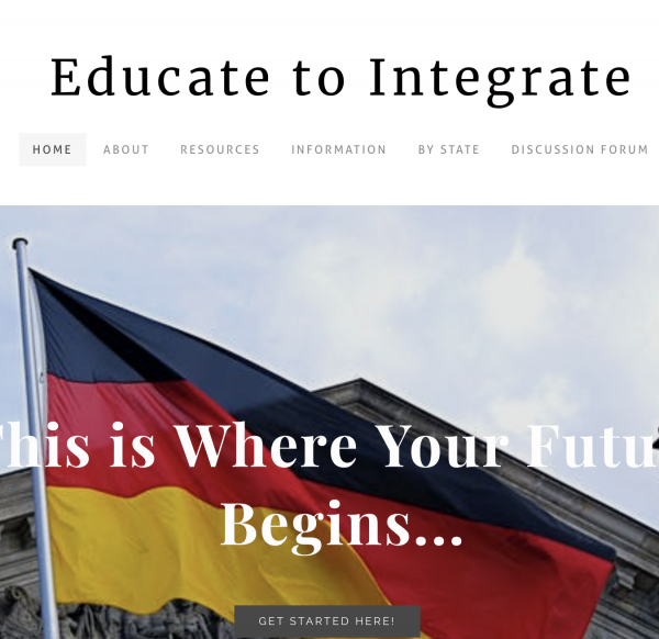 Photo of website Educate to Integrate, which is written at the top, a red and yellow flag photo is on the bottom