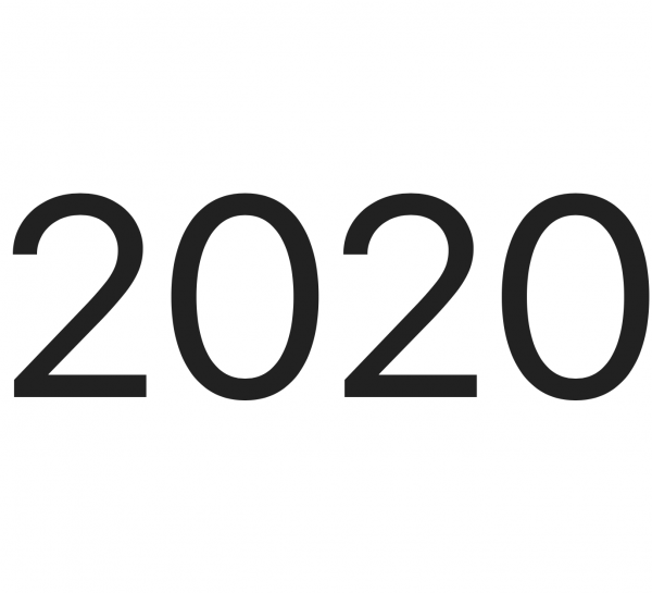 white screen with the words 2020 in large black letters