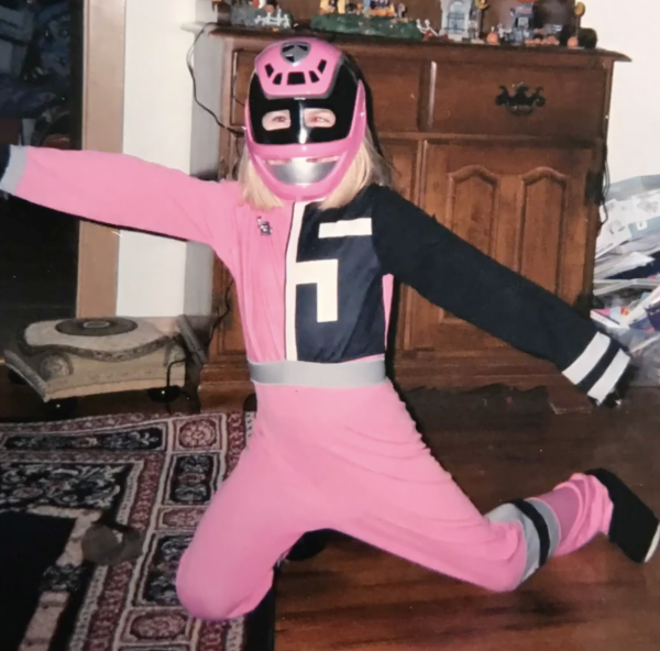 Photo of a child in a pink power ranger costume