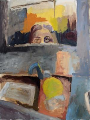 Paiting of person peeking over a sink by Allison Hoey