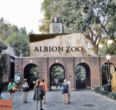 Picture of gates to a fictional zoo called Albion Zoo