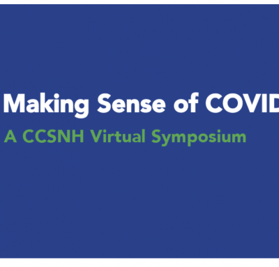 """""""making sense of Covid"""" words on a blue screen"""