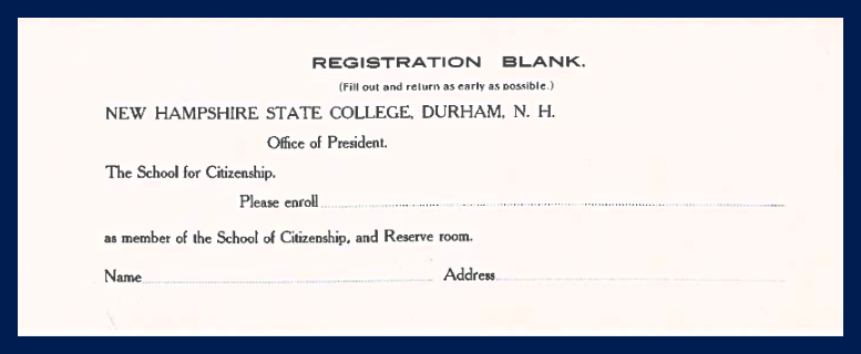 Registration blank for the School