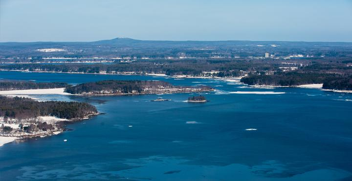 aerial view of the Great Bay, NH