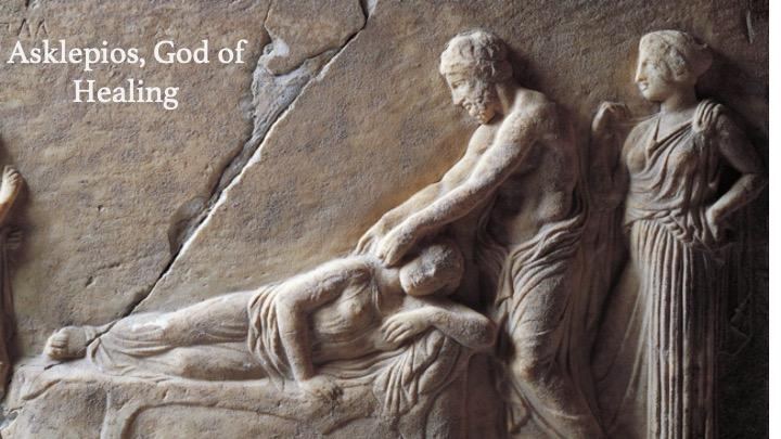 The Greek god Asklepios healing a patient