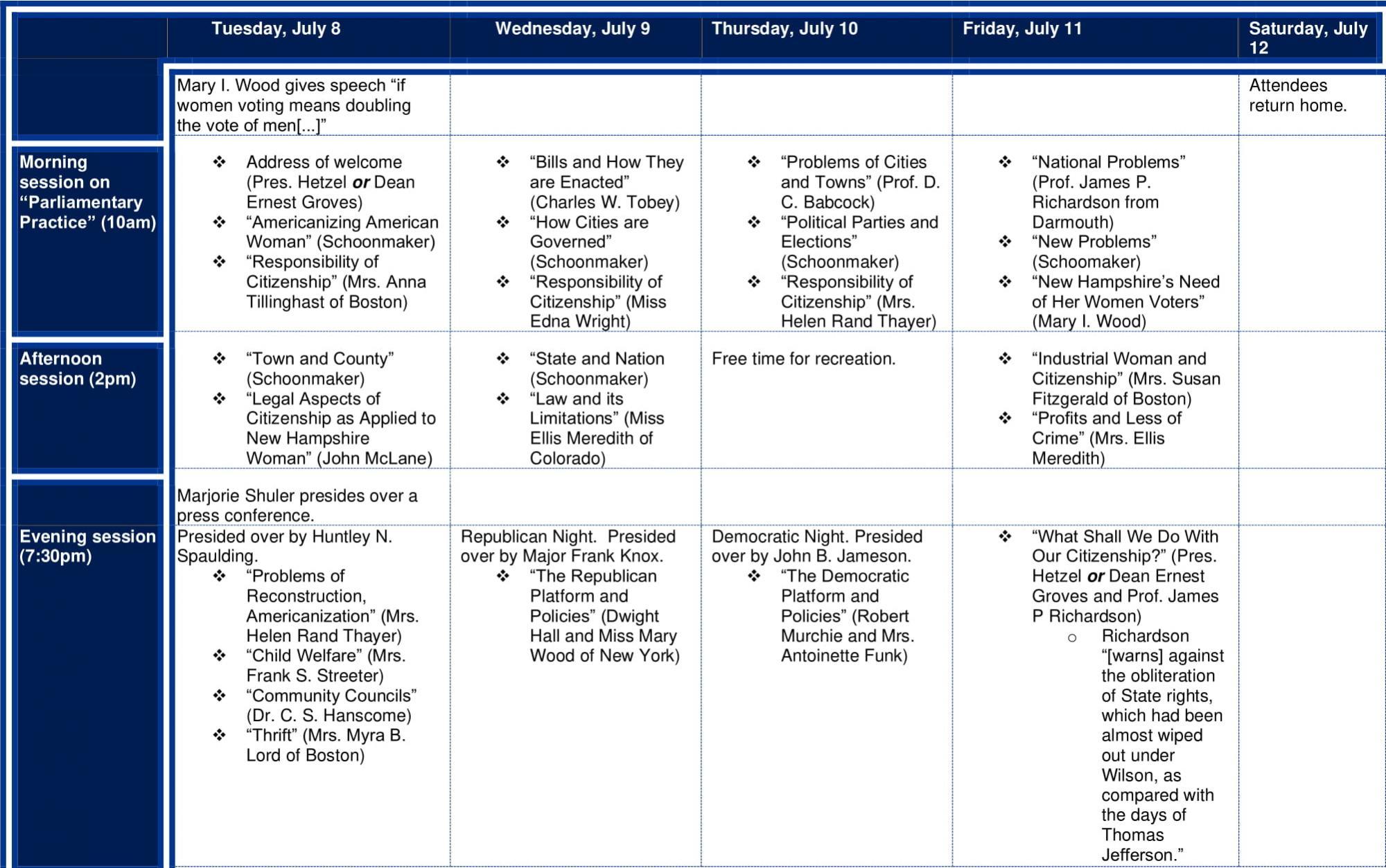 Schedule for school