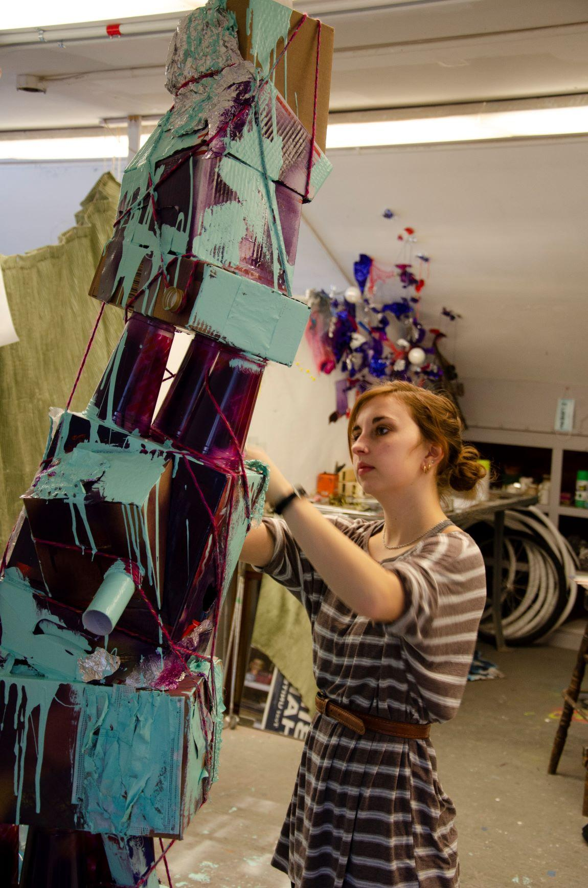 EJ Theriault in her studio