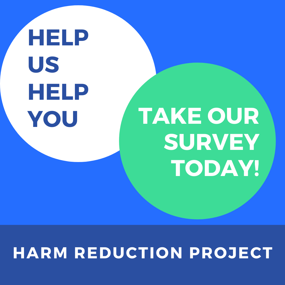 Two circles with text asking to take our survey today