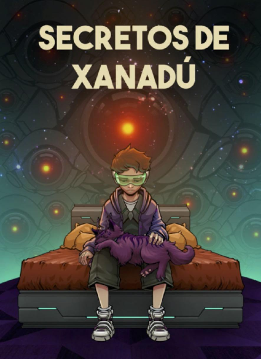 Boy sits with futuristic glasses on, title reads secretos de xanadu