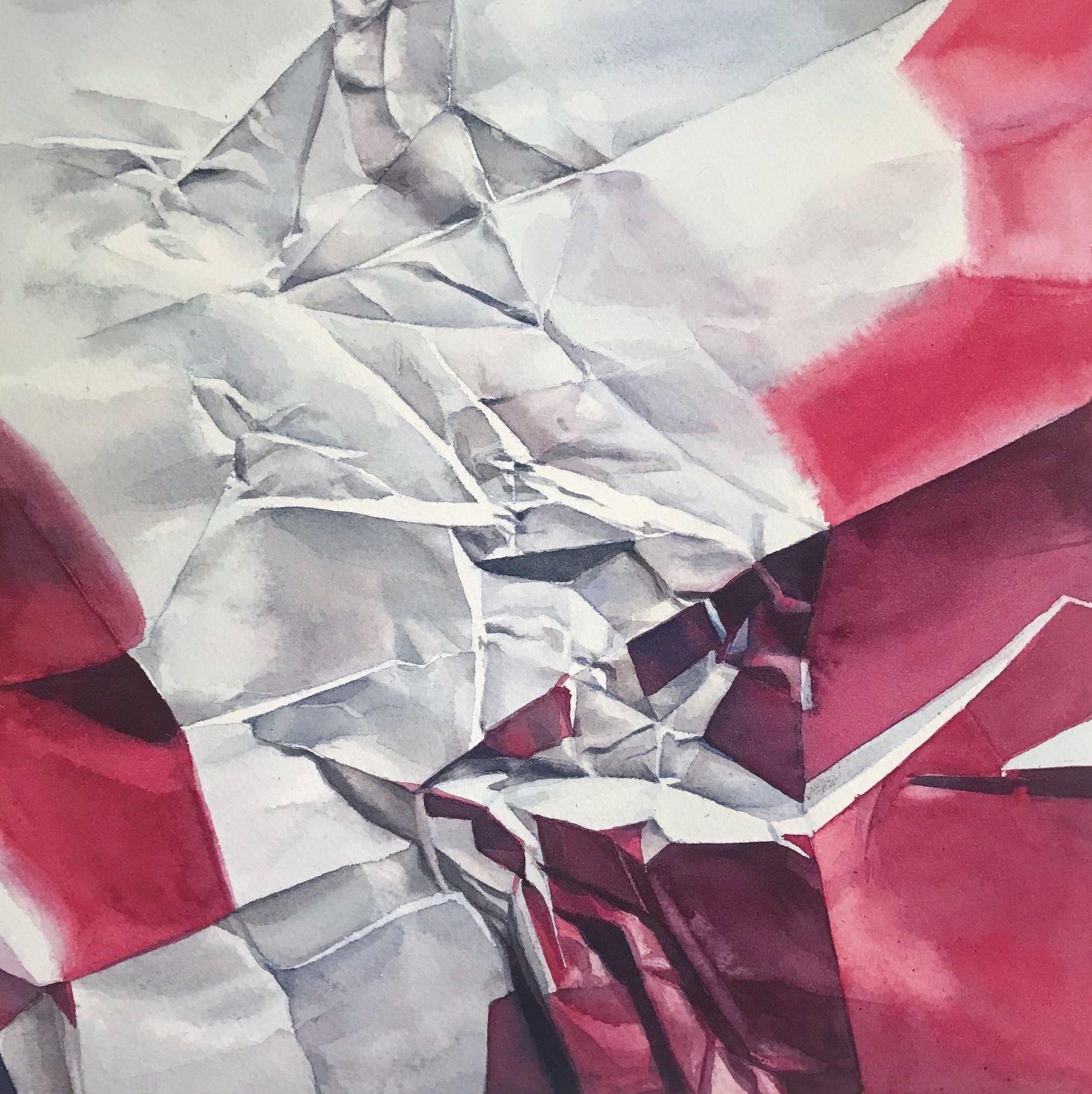 "Shaina Gates, Each stream has the same parity, 2018, watercolor on paper, 19 x 19"""