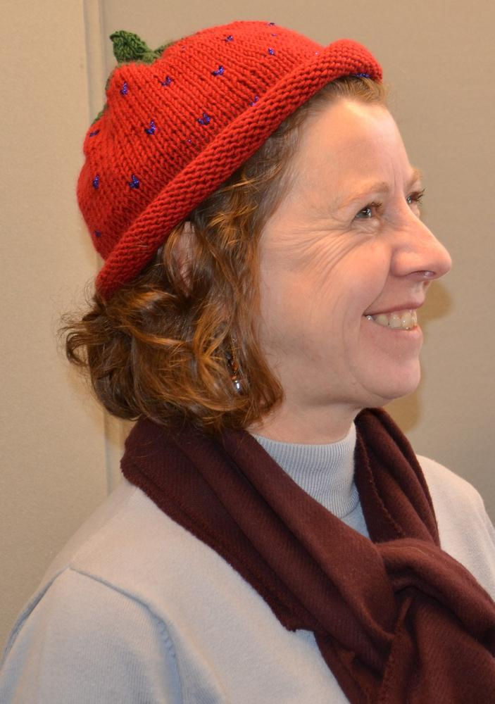 Lise Mahoney in strawberry hat