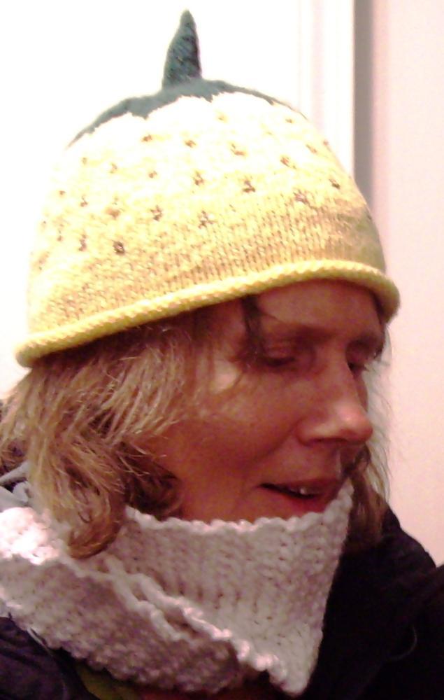 Liz Miller in strawberry hat
