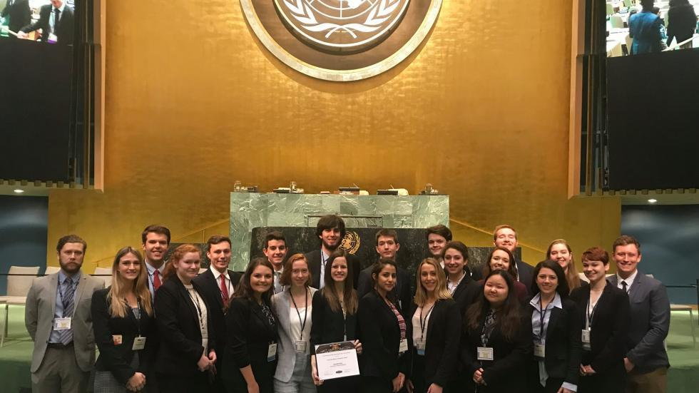 UNH delegates won Honorable Mention at the NMUN closing ceremony.