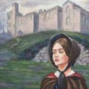 Image of Jane in front of Thornfield Hall